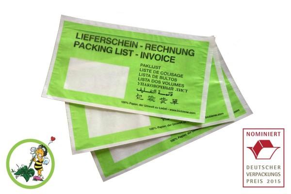 Papier Lieferscheintaschen DIN Lang (250 Stk.) grün