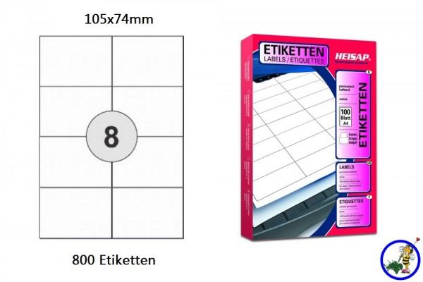 800 bedruckbare Etiketten HEI023 105x74mm