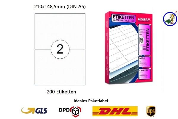 bedruckbare Etiketten HEI026 210x148,5mm (200 Stück je Packung)